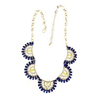 Beautiful Scallop Front Blue and Yellow Goldtone Necklace with Rhinestones