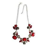 Sparkling Red and Gray Drop Front Silvertone Necklace with a Pretty Design