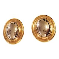 LIZ CLAIBORNE  Oval Goldtone Clip-On Earrings with Pretty Polished Silver Centers