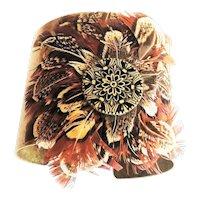 Southwestern Design Wide Brass Cuff Bracelet with Pretty Feathers
