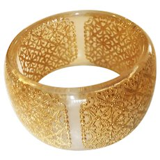 Wide Clear Acrylic Bangle Bracelet with Pretty Gold Lace Center Design