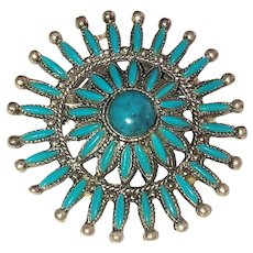 Southwestern Design Silvertone Flower Pin Brooch with Pretty Turquoise Accents