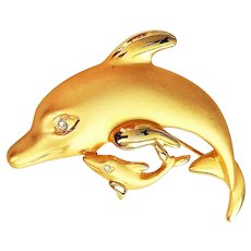 TORA signed Mom with Baby Dolphin Goldtone Brooch with Rhinestone Eyes