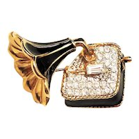 Phonograph Black and Goldtone Pin Brooch with Pretty Rhinestones