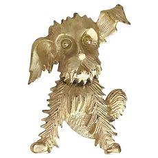 Cute Sitting Puppy Dog Goldtone Pin Brooch