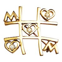 Cute MOM Tic-Tac-Toe Goldtone Pin Brooch with Sparkling Rhinestones