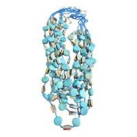 Multi Strand Beautiful Blue Glass, Shell and Wood Beaded Necklace