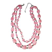 Multi Strand Marbled Pink Beaded Necklace with Pretty Silvertone Bead Accents