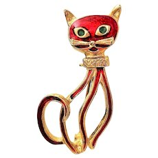 Cute Enameled Red on Goldtone Kitty Cat Pin Brooch with Pretty Open Design
