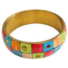 SALE - Colorful Shell and Brass Bangle Bracelet