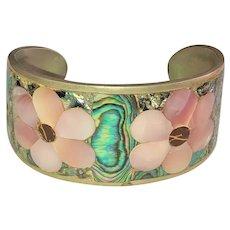 HESHOEN MEXICO signed  Wide Silvertone Cuff Bracelet with Pretty Pastel Shell Designed Flowers