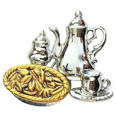 DANECRAFT -  Coffee Set Silvertone Pin Brooch with Goldtone Pie