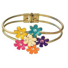 Flower Cluster Hinged Goldtone Bracelet with Colorful Rhinestone Centers