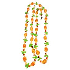Pretty Fruit Salad Colorful Long Necklace with Pretty Flowers and Leaves