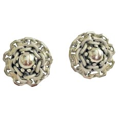 Rope Twist Designed Silvertone Clip On Earrings