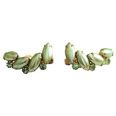 Pastel Green Faux Pearl and Goldtone Clip On Earrings