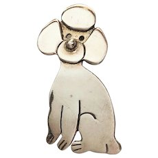 STERLING SILVER - Cute Poodle Sitting Pin Brooch