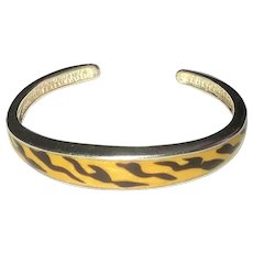 STERLING SILVER 925 - Beautiful Cuff Bracelet with Pretty Animal Print