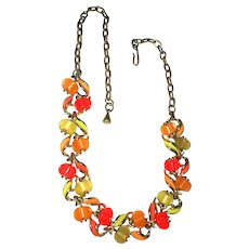 Pretty Orange , Red and Green Flowered Goldtone Necklace