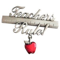 JJ signed Cute TEACHERS RULE Pin Brooch with Ruler and Apple Charm