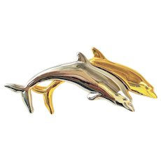 LIZ CLAIBORNE  Pretty Two Dolphins Playing  Goldtone and Silvertone Pin Brooch