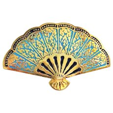Beautiful Enameled Old Fashioned Fan Goldtone and Blue Pin Brooch