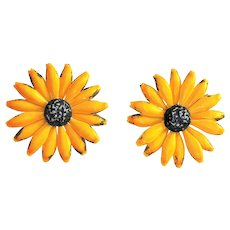 Enameled Yellow Flower Clip On Earrings with Little Brown Centers