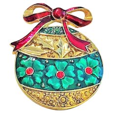MONET signed Goldtone and Green Christmas Ornament Pin Brooch with Red Rhinestones
