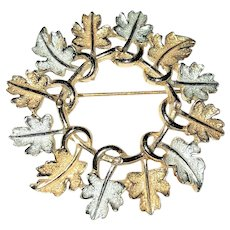 SARAH COVENTRY - Wreath of Leaves Goldtone and Silvertone Pin Brooch