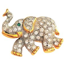 Cute Elephant Rhinestone  Pin Brooch with Goldtone and Silvertone