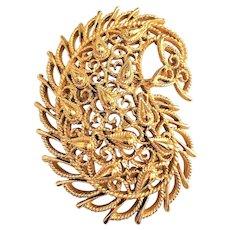 TRIFARI - Lace Look Leaf Design Goldtone Pin Brooch