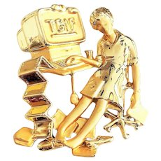 DANECRAFT - Fun  TGIF A Very Tired Woman at Her Desk Goldtone Pin Brooch