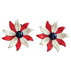 Enameled Red , White and Blue Flower Clip-On Earrings