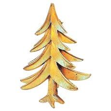 CROWN TRIFARI - Christmas Tree Goldtone Pin Brooch
