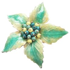 LC- LIZ CLAIBORNE - Silvertone and Pastel Blue Flower Brooch with Pretty Beaded Center