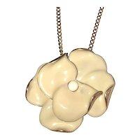 Enameled Cream Color Flower on Goldtone Necklace