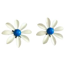 Enameled White Flower Clip-On Earrings with Pretty Bright Blue Center