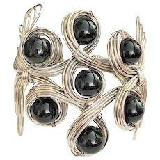 Stunning Wide Cuff Wire Twist Silver Tone Bracelet with Pretty Black Bead Accents