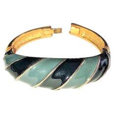 SALE -Pretty  Enameled Gray and Black on Goldtone Bracelet