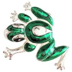 FROG - Enameled Green on Silvertone Frog Pin Brooch