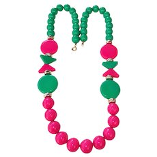 SALE - Beautiful Summer Green and Pink Beaded Necklace