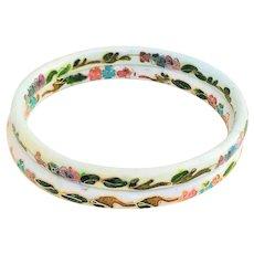 SET OF 2 - Pretty White with Pretty Flowers Cloisonne Bangle Bracelet Set