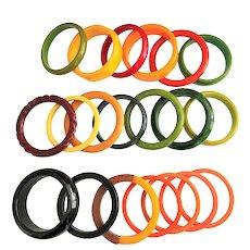 BAKELITE - SET of 20 -Tested Mix and Match Colorful Bangle Bracelet Set