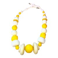 RETRO- Bright Yellow and White Beaded Necklace