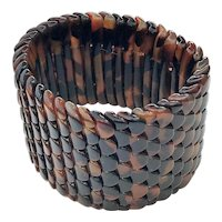 Wide Brown Marbled  Look Stretch Bracelet