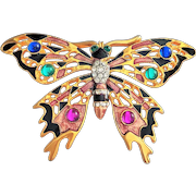 Beautiful Enamel on Goldtone Butterfly Pin Brooch with Pretty Rhinestones