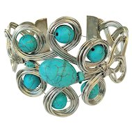 SALE - Silvertone Wire Twist Design Wide Cuff Bracelet with Pretty Turquoise Color Beads