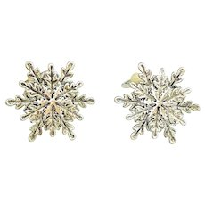 SNOWFLAKE- BEST signed Silvertone Snowflake Clip On Earrings