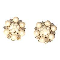 Flower  Faux Pearl Clip On Earrings