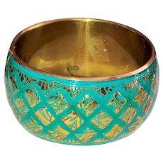 SALE - Enameled Turquoise Color on Brass Wide Bangle Bracelet
